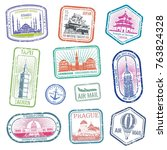 vintage travel stamps with... | Shutterstock .eps vector #763824328