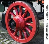 Red Freshly Painted Wheel Of...