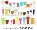 vector set of glasses ... | Shutterstock .eps vector #763825366