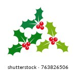 christmas holly berries...   Shutterstock .eps vector #763826506