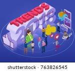 trends in social network 2018.... | Shutterstock .eps vector #763826545