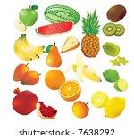vector set of 14 fresh fruits. | Shutterstock .eps vector #7638292