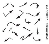 set of vector  curved arrows... | Shutterstock .eps vector #763830445
