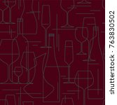 seamless background with wine... | Shutterstock .eps vector #763830502