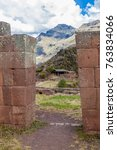 Small photo of Ancient Inca's ruins in Pisac village, Sacred Valley of Incas, Peru