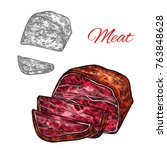 fresh meat sketch icon of beef... | Shutterstock .eps vector #763848628