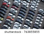 car dealership yard at a port ... | Shutterstock . vector #763855855