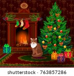 new year and merry christmas... | Shutterstock .eps vector #763857286