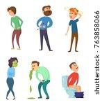 stomachache poison and diarrhea.... | Shutterstock .eps vector #763858066