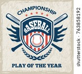 retro poster for baseball club. ... | Shutterstock .eps vector #763858192