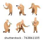 detective in different action... | Shutterstock .eps vector #763861105