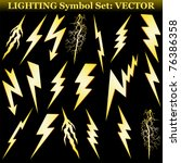 gold lightning set isolated on... | Shutterstock .eps vector #76386358