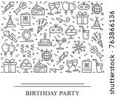 birthday party theme horizontal ... | Shutterstock .eps vector #763866136