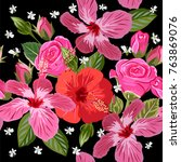 seamless pattern with hibiscus... | Shutterstock . vector #763869076