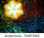 bokeh merry christmas wallpaper ... | Shutterstock . vector #763875682