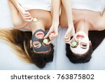 home spa. two women holding... | Shutterstock . vector #763875802