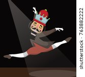 dancing christmas nutcracker... | Shutterstock .eps vector #763882222