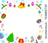 christmas characters frame with ... | Shutterstock .eps vector #763885735