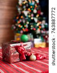 new year's gift with a red... | Shutterstock . vector #763887772