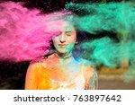 beautiful young woman posing... | Shutterstock . vector #763897642