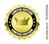gold limited edition badge with ... | Shutterstock .eps vector #763903366