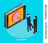 a successful deal  a dart at... | Shutterstock .eps vector #763903786