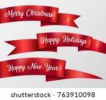 red ribbon merry christmas ... | Shutterstock .eps vector #763910098