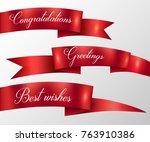 red ribbon greetings ... | Shutterstock .eps vector #763910386