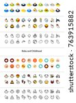set of icons in different style ... | Shutterstock .eps vector #763915882