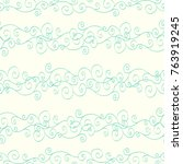 seamless blue and white pattern ... | Shutterstock .eps vector #763919245