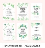 green wedding invitation card | Shutterstock .eps vector #763920265