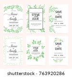 green wedding invitation card | Shutterstock .eps vector #763920286