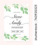 green wedding invitation card | Shutterstock .eps vector #763920325
