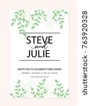 green wedding invitation card | Shutterstock .eps vector #763920328