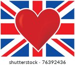 a  british flag with a big red... | Shutterstock .eps vector #76392436