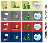 flat line holiday christmas... | Shutterstock .eps vector #763924606