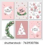 set of 6 christmas greeting... | Shutterstock .eps vector #763930786