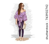 urban casual outfit. romantic...   Shutterstock .eps vector #763932742