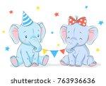 cute girl and boy elephants... | Shutterstock .eps vector #763936636