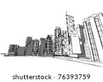 urban sketch | Shutterstock .eps vector #76393759