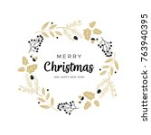 christmas wreath with black and ... | Shutterstock .eps vector #763940395