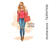 fashion look. urban casual... | Shutterstock .eps vector #763947436