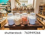 Small photo of Montreal, Canada _ November 27, 2017. Salts and other Products Available in Bulk at Frenco, a Zero Waste Company in Montreal.
