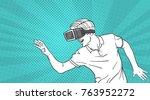 man sketch wear goggles 3d... | Shutterstock .eps vector #763952272