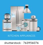 kitchen electronic appliances... | Shutterstock .eps vector #763956076