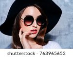 close up portrait of a hipster... | Shutterstock . vector #763965652
