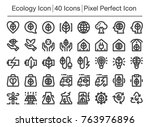 ecology line icon editable... | Shutterstock .eps vector #763976896