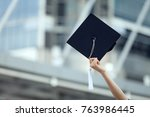 students hold graduation hat... | Shutterstock . vector #763986445