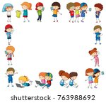 border template with happy... | Shutterstock .eps vector #763988692