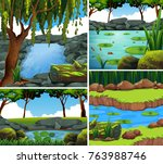 four background scenes with... | Shutterstock .eps vector #763988746